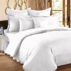 Plain Bed Sheet With Satin Stripes