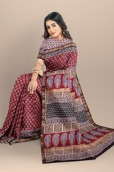 Bagru Hand Block Print Maheshwari Silk Saree With Blouse Piece