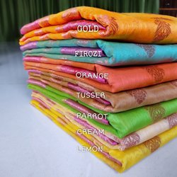 Hamida Fabric Jaquard Banarasi Cotton Slub Silk Saree, With Blouse, 5.5 m