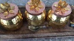 brass finish Round Jar, Size: 3 Inch