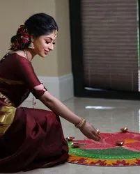 Party Wear Embroidered Lichi Silk Designer Saree, 6.3 m (with blouse piece)