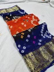 Pure Vicos Silk Blend Bandhani Sarees