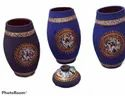 Black Hand Painted Terracotta Pots And Vases, For Interior Decor