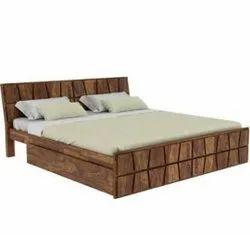 Modern Brown Sheesham Wooden Bed