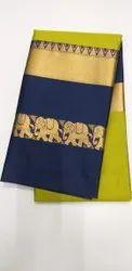 6.3 m (with blouse piece) Hathi design Handloom Cotton Silk Saree