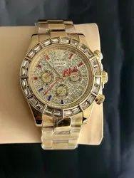Golden Stainless Steel Rolex Watch