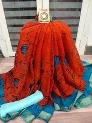 Printed Chiffon Saree With Blouse Piece