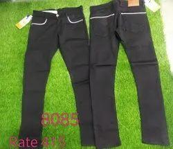 Regular Fit Mens Black Knitted Jeans
