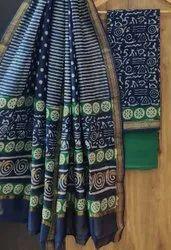 Bagru Hand Block Print Maheshwari Silk Dress Material with Dupatta
