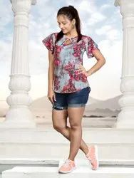 Maslin gold lining Casual Wear Short Sleeve Top, Size: M-L-XL