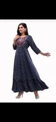 Rayon printed gown