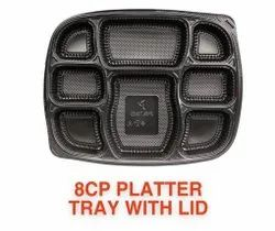 Plastic Black 8 partion with lid disposable food tray, For Hospital and restaurants
