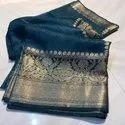 Banarasi Silk Linen Sarees With Contrast Border