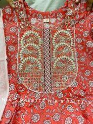 Premium Cotton Floral Print Anarkali  Kurti With Fancy Work On Yoke  Cotton Pant & Dupatta  Suits