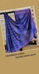 Handloom Cotton Kantha Work In Hand Block Printed Saree