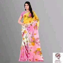 Casual Wear Printed Ladies saree, With blouse piece