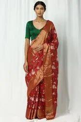 Tussar Silk Embroidery Work Sarees