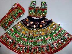 Thread Embroidery Or Foil Work Navratri Kids Chaniya Choli, Handwash