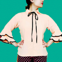 Gorgeous Collared Top With Double Bell Sleeves