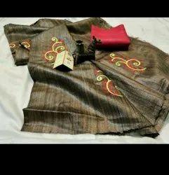 Tussar Ghicha Silk Embroidery Work Sarees