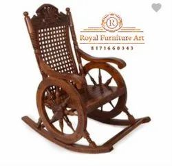 Antique Brown Rocking Chair, For Home, Back Style: High Back