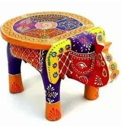 Multicolor Round Wooden Elephant Handicraft Stool With Pure Hand Emboss Painting, For Home