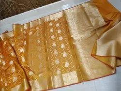 Hamida Fabric Jquard Banarasi Cotton Silk Saree, With Blouse, 5.5 m