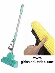 PVA Sponge Absorber Mop with Squeezing Technology & Adjustable Handle (Multi-Color)