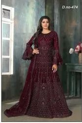 Embroidered Anarkali Party Wear Gowns, Size: Regular Size
