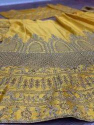 Semi-Stitched Wedding Lehenga, Size: Free Size