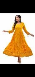 Ladies Printed Rayon Gown