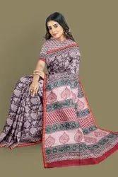 Block Printed Chandari Silk Saree