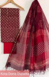 Ajrakh Print Cotton Dress Material With Kota Doria Dupatta