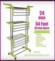 Stainless Steel Heavy Duty Double Pole 3 Layer Cloth Drying Stand for Balcony