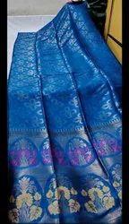 Linen Floral Jaal Work Weaving Sarees