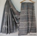 Bagru Hand Block Print Cotton Mulmul Saree With Blouse Piece