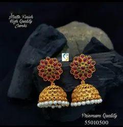 Golden Brass Matte Earrings