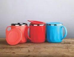 Plastic cotted steel tea mug with lid