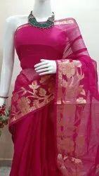 Party Wear Kota Doria Saree, 6.3 m (with blouse piece)