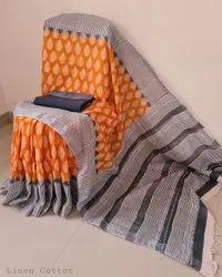 Printed Linen Slub Saree