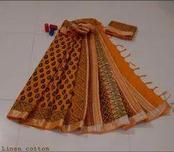 Bagru Hand Block Print Linen Slub Saree with Blouse Piece