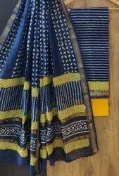 Bagru Print Maheshwari Silk Dress Material with Dupatta