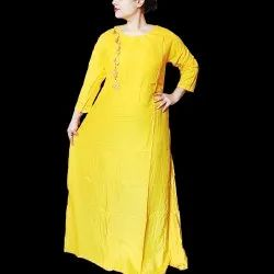 Cold-shoulder kurti cum maxi dress
