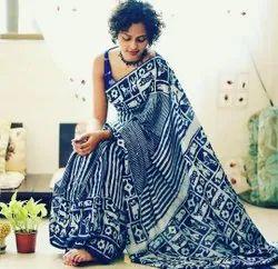 Bagru Hand Block Indigo Dabu Print Natural Color Print Cotton Mulmul Saree With Blouse Piece
