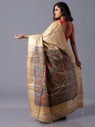 Staple Tussar Silk Madhubani Painted Sarees