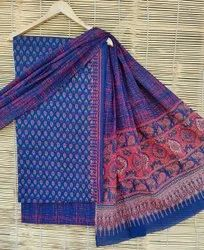 Printed Bagru Print Cotton Dress Material With Dupatta