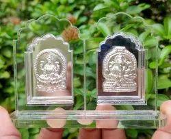 Silver Laxmi Ganesh Statue, For Decoration, Size: 6 X 4 Inch