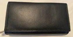 Plain Genuine Leather Ladies Wallet, Compartments: 4