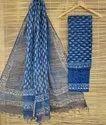 Printed Cotton Kota Doria Dress Material with Dupatta