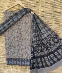 Bagru Hand Block Ajrakh Print Cotton Dress Material With Dupatta